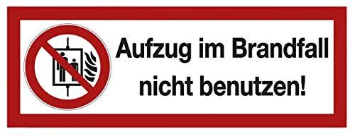 Warnaufkleber Aufzug im Brandfall Nicht benutzen Warnhinweis Schild Folie 21x7,4cm Made in Germany