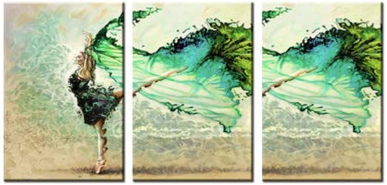 Abstract Canvas Wall Art Modern&Simple Dancing Lady Prints On Canvas Abstract Painting Pictures for Home Wall Hotel Office Study Decoration 40  60Cm 3 Panels Inner Framed