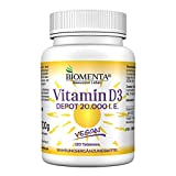 BIOMENTA VITAMINE D3 20000 iu | 1 Vitamine D3 Comprimé / 20 Jours | 120 VÉGÉTALIEN Vitamine D Comprimé