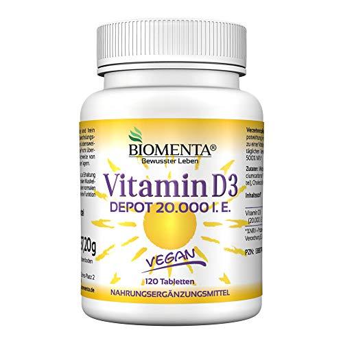 Bester der welt BIOMENTA, hochdosiertes Vitamin D3 – Für Veganer – 20.000 IE pro 3 Vitamin D-Tabletten – Ablagerung, 1 Tablette….