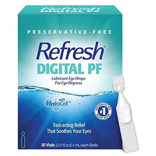 Refresh Digital PF Lubricant Eye Drops, Preservative-Free, 0.01 Fl Oz Single-Use Containers, 30...