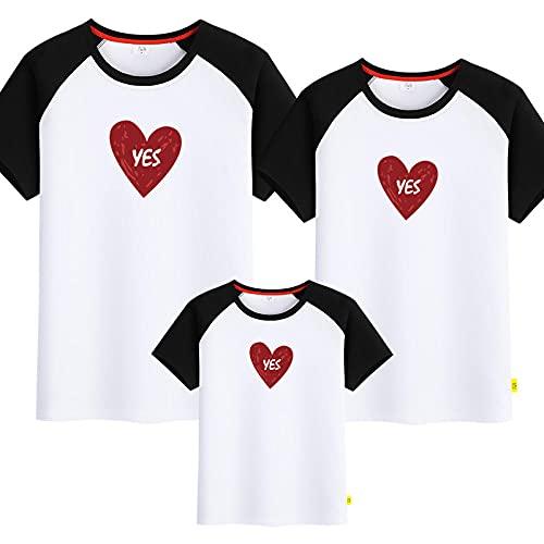 SANDA T-Shirt Hombre,Padre-niño Amor, Camiseta de Manga Corta, Madre Femenina, una Familia de Tres o Cuatro-En Blanco y Negro_Mamá s
