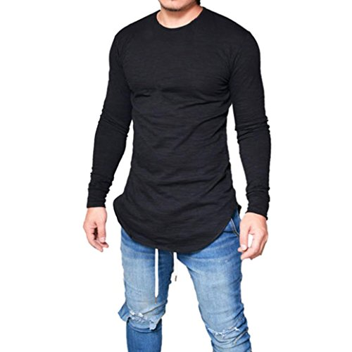 Toamen Hommes T-shirt Décontractée Slim Fit Muscle Manche Longue Couleur unie O Cou (Noir, XXL)