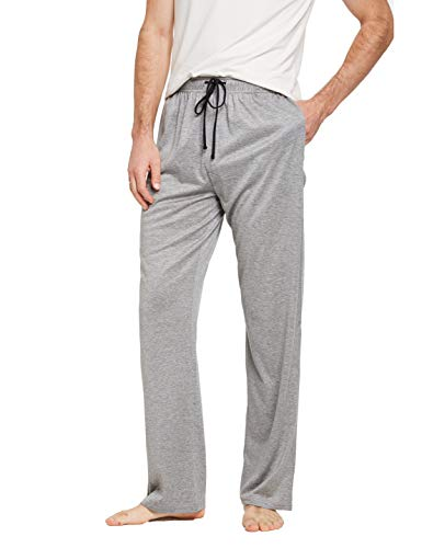 CYZ Comfortable Jersey Cotton Knit Pajama Lounge Sleep Pants -Melange Grey-XL