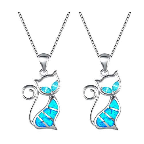 jieGorge Cat Silver Pendant Personality Charm Wild Girl Necklace Pendant 2pcs , Necklaces & Pendants , Products for Christmas
