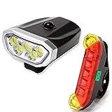 LYYHUA Fahrradlicht Set (2 Pack), wiederaufladbare Fahrradlichter, wasserdichte Fahrrad LED...