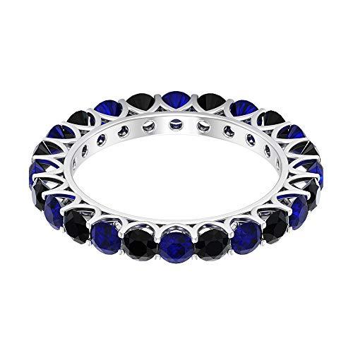 3.00 CTT Anillo de eternidad de diamantes negros con certificación de zafiro azul, 3 mm, para mujeres antiguas, aniversario de cumpleaños, aniversario, madre, 10K Oro blanco, Size:EU 50
