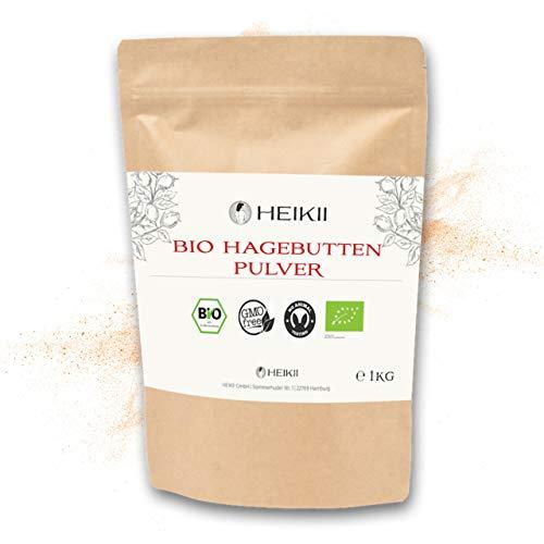 HEIKII® Bio Hagebutten Pulver 1000 Gr. abgefüllt in Deutschland inkl. eKochbuch