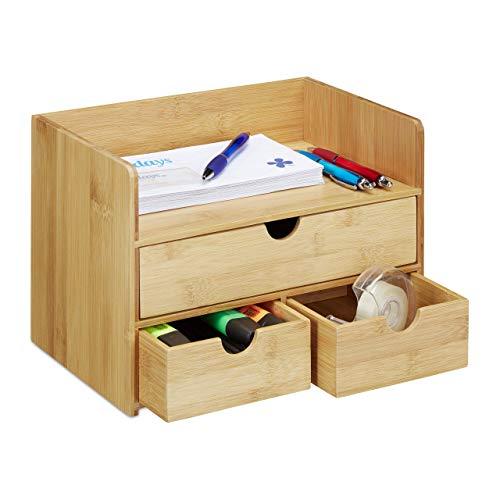 Relaxdays Bureau Organizer, bamboe brievenbakje, laden voor kantoor gebruiksvoorwerpen, opbergsysteem bureau, natuur
