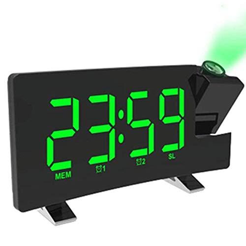 GRX-ZNLJT Projektionswecker - Einstellbare Helligkeit Digital - Doppelalarm mit Schlummerfunktion - LED-Anzeige Zeit, 180 ° Projektion