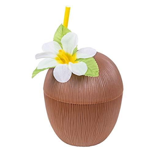 Toy Adventure - Kokosnuss Becher mit Strohhalm im Coctail Hawaii Sommer Urlaub Look, Braun