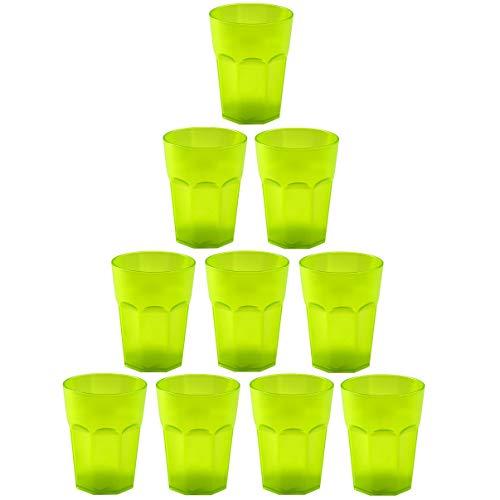 EnGELLAND - 10 bicchieri in plastica per feste, riutilizzabili, 0,25 l, colore: Verde/Verde fluo