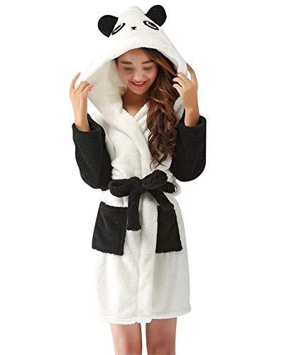 DianShaoA Peignoir Femme Robe De Chambre Polaire Chaud Long Flanelle Homme Peignoir De Bain Noël Famille Pyjama Panda M