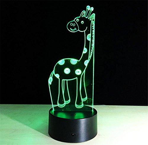 Veilleuses Illusions Optiques Giraffe lampe de bureau 3d 7 couleurs Changement tactile interrupteur à distance Tableau de commande LED Night Light Lighting Décoration Accessoires pour la maison