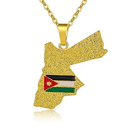 BACKZY MXJP Necklace Ethnic Jordan Map&Flag Pendant Necklace for Men/Women Gold Color Jordanian Maps Jewelry