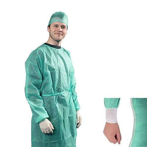 Camice Monouso verde con polsino in maglina in TNT 25 gr DM CLASSE I camice da lavoro usa e getta per Visitatore Paziente