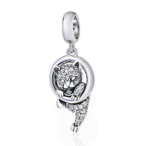 Charm-Anhänger Glückskatze, aus 925 Sterlingsilber, für Pandora Charm-Armband geeignet