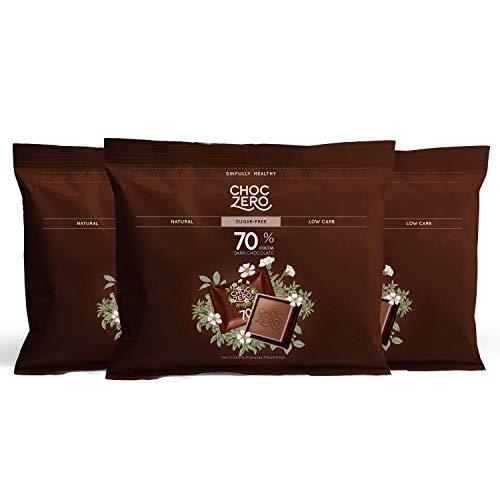 ChocZero 70% Dark Chocolate Sugar free Low Carb No Sugar Alcohol No Artificial Sweetener All Natural NonGMO  3 Bags 30 pieces