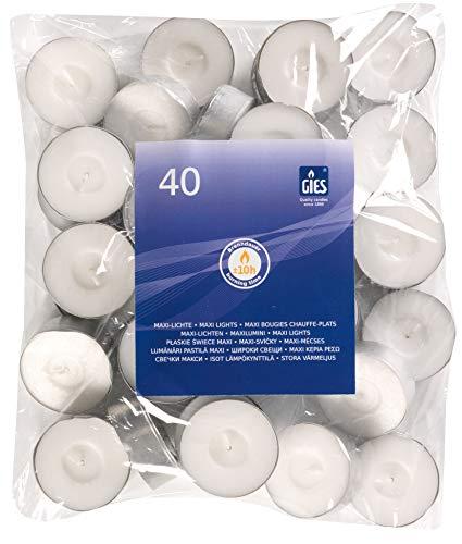 Gies 205-455000-10, Durchmesser 58 mm, in Metallhülsen, 40er-Beutel, Weiss Kerzen, Teelichte, Maxi-Lichte