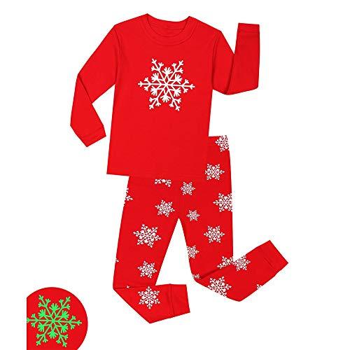 Weentop Kinderpyjamas Glow-in-The-Dark Nachtwäsche für Kinder PJS Größe 1-8T für Jungen (Farbe : Rot, Größe : 5T)