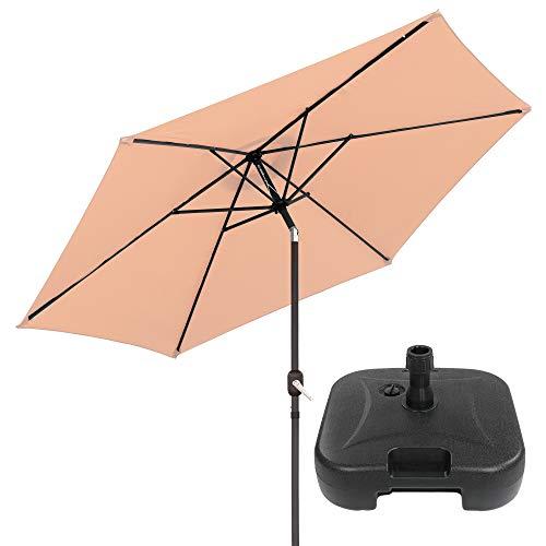 Pack de Parasol jardín inclinable Beige de Aluminio de Ø 300 cm y Base de Parasol - LOLAhome