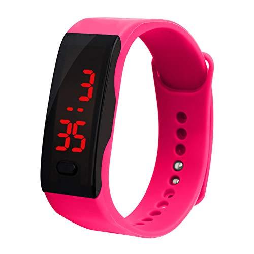 Verlike Kinder Silikon-Armbanduhr, LED-Display, elektronisch, digitales Sportarmband, rosarot