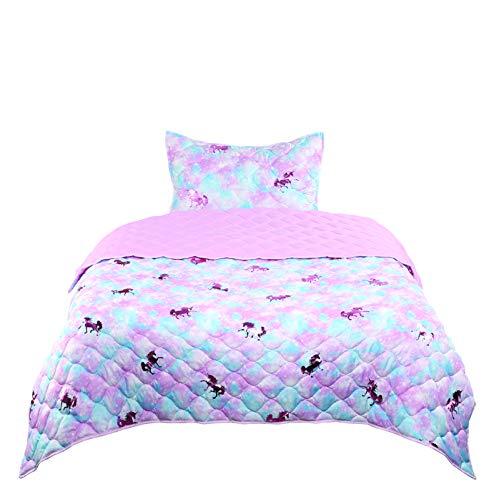 Tadpoles Girls Unicorn Quilt Set, Twin Size, Pink, Blue, Metallic Pink (UNIPNKQLTT)