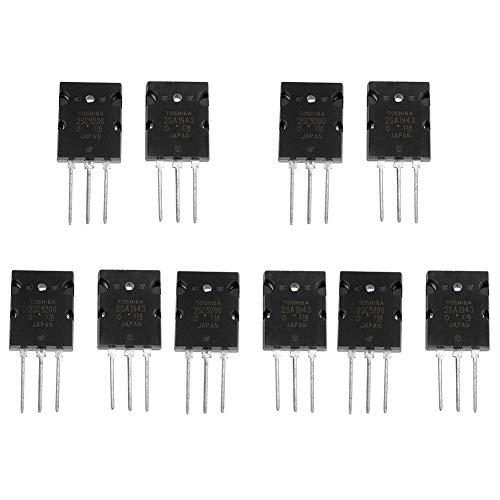 Transistor de amplificador de audio de alta potencia negro de 5 pares Transistor de silicio de audio combinado 2SC5200 Transistor de audio de precisión de alta potencia 2SC5200