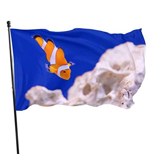 WDDHOME Anemone Tier Aquarium Clownfisch Marine Ocean Flags Dekoration Haus dekorative Fahnen 3 x 5 Fuß lebendige Farben Qualität Polyester und Messing Ösen