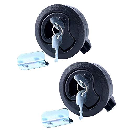 "Amarine Made 2"" Flush Pull Slam Latch for Boat Deck Hatch 1/4"" Door Locking Style-Black (2-Pack)"