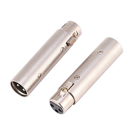 Zerone XLR À 6,35 Mm Connecteur Adaptateur, 3 Broches XLR 6,35 Mm Mâle vers XLR Connecteur Mâle Professionnel en Métal Mic Jack Plug Converter (#4)