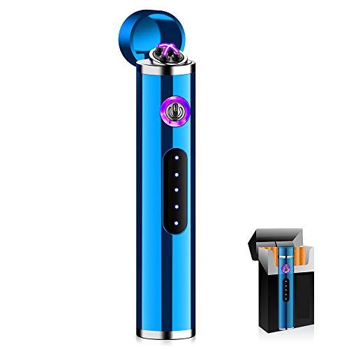 KIPIDA Mechero Electrico, Mini Encendedor Recargable, Encendedor Eléctrico con Control Táctil, Encendedor USB de Doble Arco con Indicador LED, para Barbacoa, Regalo del día del Padre para Hombres