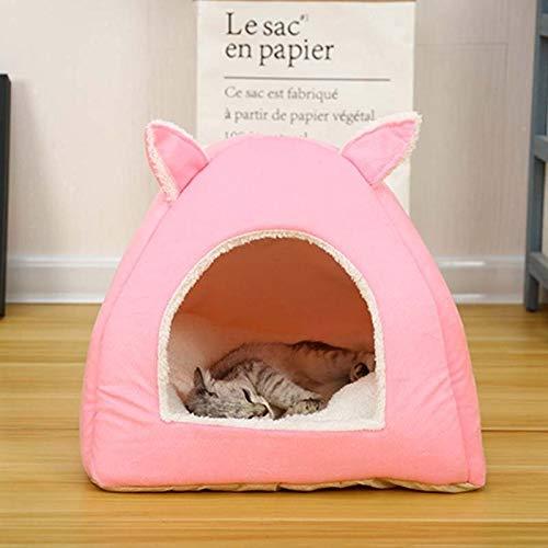 Cama plegable para gatos y perros con colchón extraíble (color: rosa, tamaño: S 29 x 29 x 29 cm)
