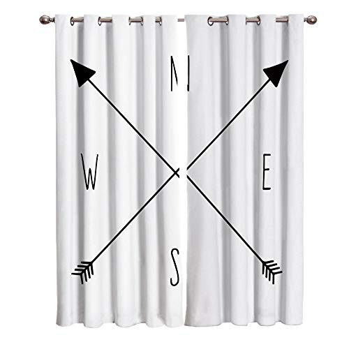 CGZLNL Blackout Curtains Crossed Arrows-White Bedroom Super Soft Eyelet Curtains Noise Reduce Curtains Thermal Insulated Curtains for Living Room/Home Office 2 Panels W 29.5x65.4 H inch