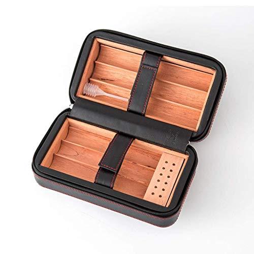 Portátil puede acomodar 6 cigarros con madera de cedro humidificada forrada de cuero de viaje Caja de regalo portátil para hombres Caja de cigarrillos Caja de madera maciza cubana Negro Ble para el hu