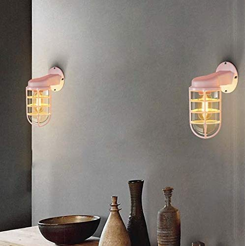 Mkjbd Muur Lantaarn Tuin Lamp Wandgemonteerde Lamp Muur Lampen Mooie Macaron Nordic Creatieve Eenvoudige Glas Restaurant Lampen Bar Lampen Amerikaanse Industriële Wind Iron Water Pipe Verticale Ovale Wandlamp Be Groen