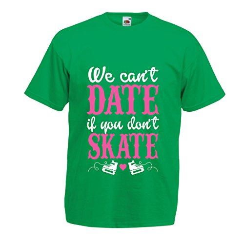 lepni.me Camisetas Hombre No Skate, No Date - diseño de Citas Divertidas, Regalo te Amo (Medium Verde Multicolor)