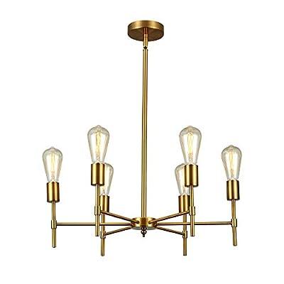 6-Light Modern Industrial Chandelier Electroplate Brass Metal Pendant Light Fixture Adjustable Hanging Stem Ceiling Light for Dining Room Kitchen Island Living Room Bedroom.