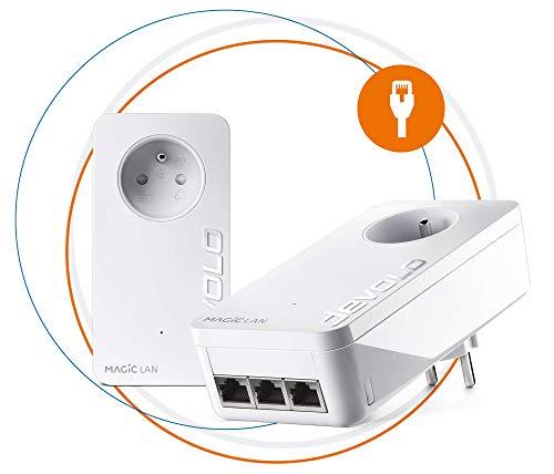 Devolo Magic 2 LAN Triple : Starter Kit CPL, 3 ports Ethernet, idéal pour TV connectée, PC et console de jeux