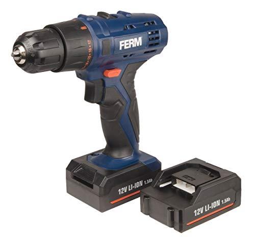 FERM Perceuse sans fil Li-ion 12V - 2 batteries 1.5Ah, chargeur rapide, 2 embouts de vissage inclus
