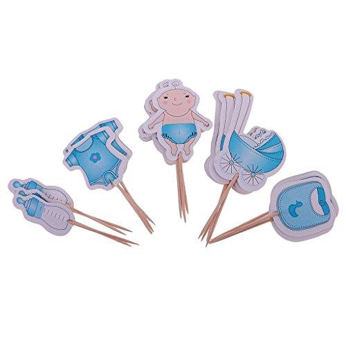Sharplace Cupcake Topper, Kuchenstecker - Geburtstag - Baby Muster - Kuchenaufsatz Cake Topper Muffin Deko Cupcake - Blau