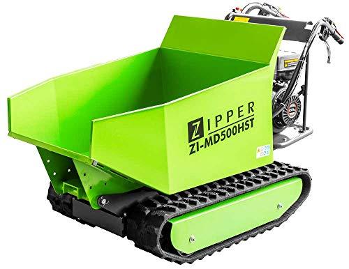 ZIPPER ZI-MD500HST Miniraupendumper | Motorschubkarre | Gummikette | 6800 Watt Leistung | Schneeschild