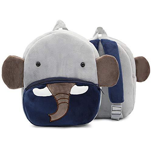 Mochila Infantil Kindergarten, Pequeño Linda Mochilas para Guardería Elefante Animales Design Suave Mochila de Felpa para Bebe Niños Niñas 2-4 Años