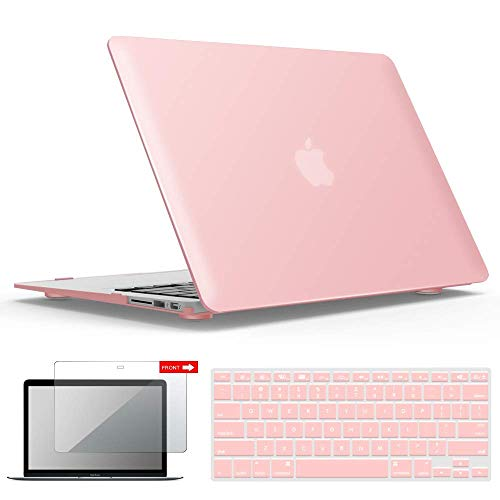 IBENZER MacBook Air 13 Inch Case A1466 A1369, Hard Shell Case with Keyboard & Screen Cover for Apple Mac Air 13 Old Version 2017 2016 2015 2014 2013 2012 2011 2010, Rose Quartz, A1301RQ+2