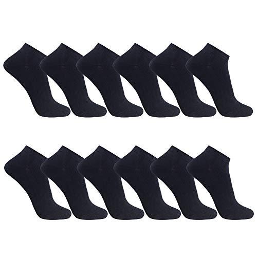 FALARY Sneaker Socken Herren Damen 12 Paar Kurze Halbsocken Baumwolle-Schwarz-43-46