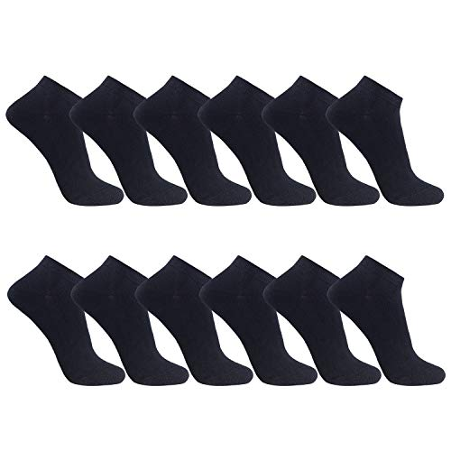 FALARY Sneaker Socken Herren Damen 12 Paar Kurze Halbsocken Baumwolle-Schwarz-35-38