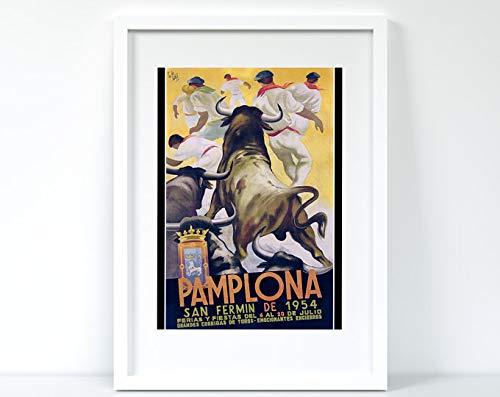 Azsteel Pamplona Travel Print, Spain, Bull | Póster sin marco para decoración de oficina, el mejor regalo para familiares y amigos de 11.7 x 16.5 pulgadas
