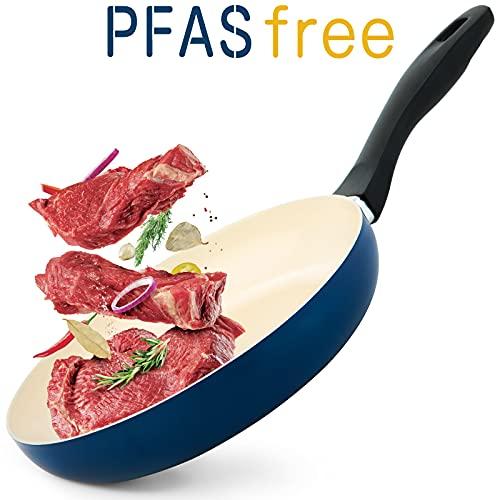 "GREECHO 9.5"" Ceramic Frying Pan, PFAS & PFOA FREE Nonstick Frying Pan, Double Layer Ceramic Coating Non Sticking Frying Pan, Induction Compatible, Dishwasher & Oven Safe Nonstick Skillet, Matte Blue"