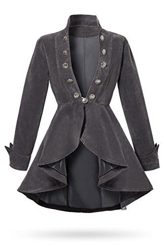 Unbekannt Graue Kurze Damen Gehrock Jacke mit Langen Ärmeln und Stehkragen Metallknöpfen vorn Samt-Stoff M