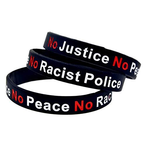 Yhrhredfjh No Justice No Peace No Racist Police Slogan bedruckt Silikon Gummi weich Armband Armreif Sport Fitnessstudio dick Armband, 0, No Justice No Peace